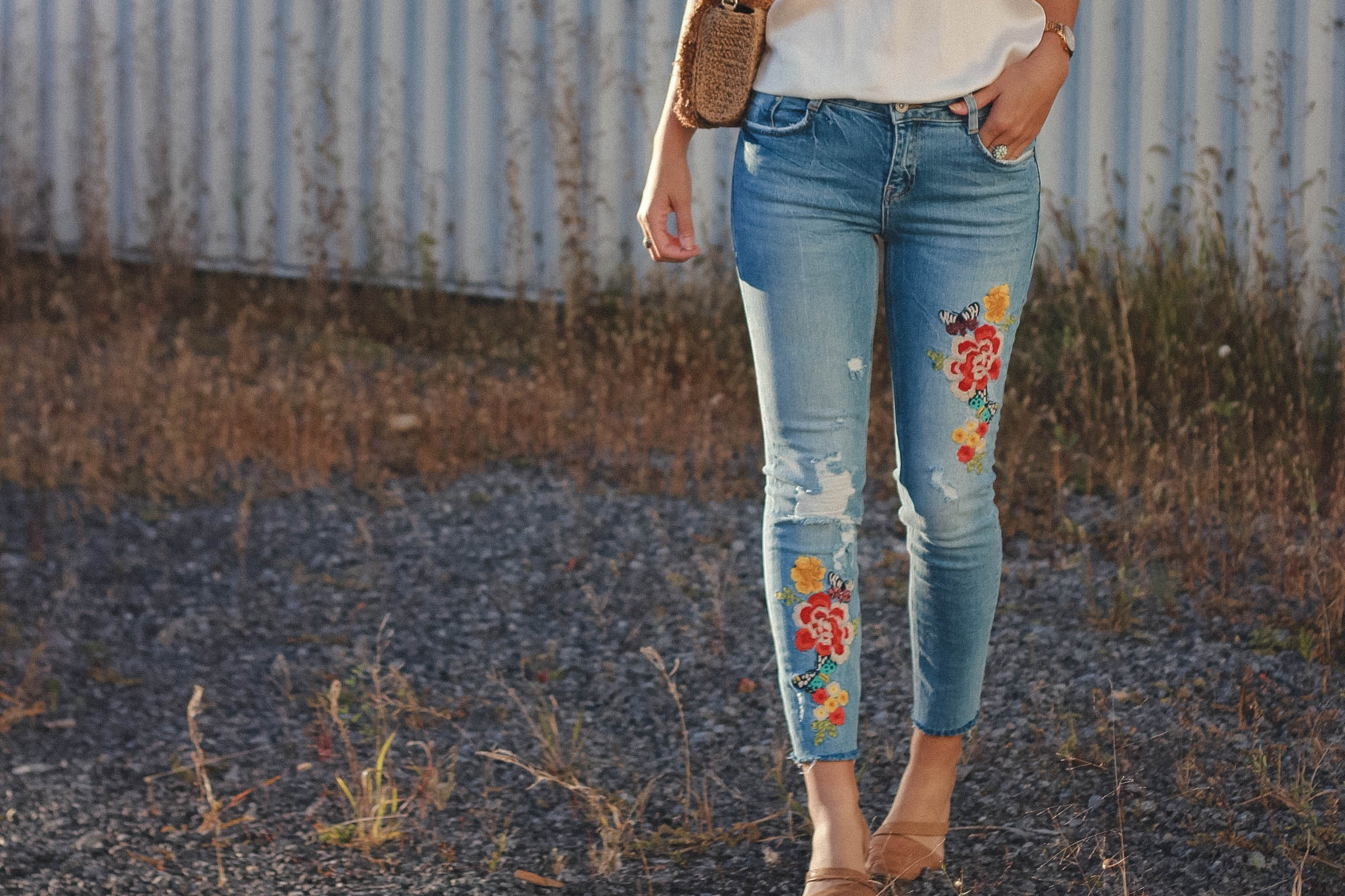 embroidered denim love